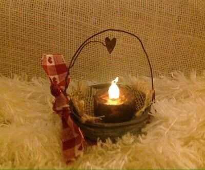 Primitive RUSTIC VALENTINE vintage Zinc Lid Candle W Timer Hand Dipped 3 In Wide