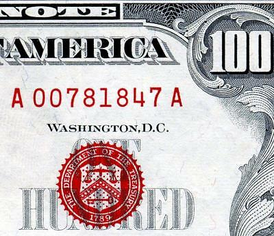 "HGR FRIDAY 1966""A"" $100 U.S. Note ((RED Seal)) Appears Near UNCIRCULATED"