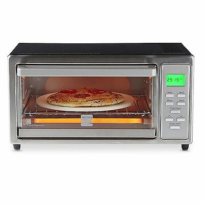 "Kenmore LCD Digital 1100w Toaster Oven w/ 9"" Ceramic Pizza Stone - Stainless"