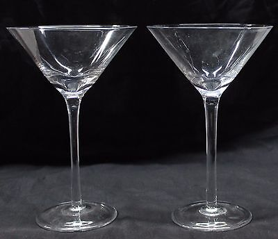 "Pair of Very Large Martini Glasses 7.5"" Over Size Cosmopolitan Clear Glass Set 2"