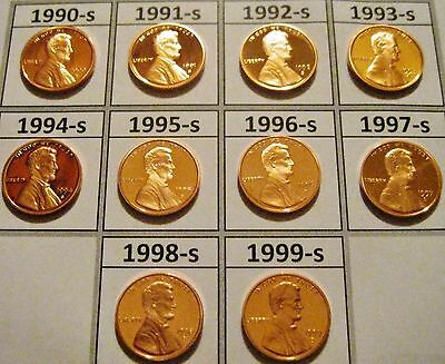 Set of 10 Cameo Gem Proof Lincoln Cents 1990 to 1999 10 Nice Problem Free Coins