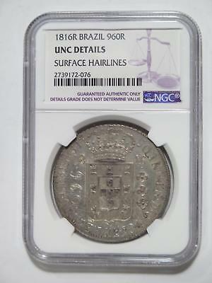 Brazil 1816R 960 Reis Ngc Unc-D Over 8 Reales Ex:kurt Prober Coin Collection Lot