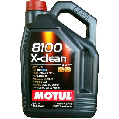 Motul 8100 X-Clean 5W-40 100% Synthetic Engine Oil 5L