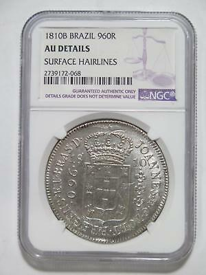 Brazil 1810B? 960 Reis Ngc Au-D Over 8 Reales Ex:kurt Prober Coin Collection Lot