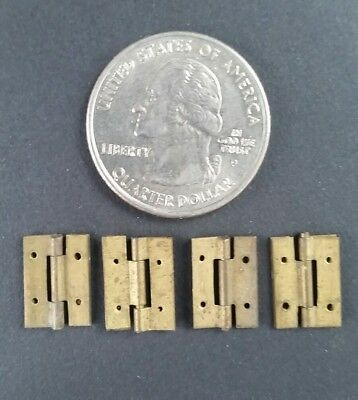"4 VERY Small Antique Tiny Brass Hinges Solid Brass 1/2"" x 3/8"" Jewelry Box #ZC"