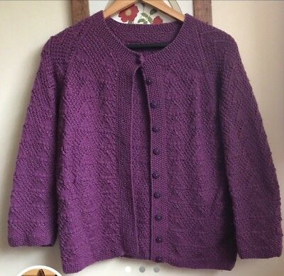 Vintage Handmade Purple Knitted Cardigan Size Small