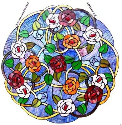 Window Panel Stained Glass Suncatcher Hanger Tiffany Style Round Victorian Rose
