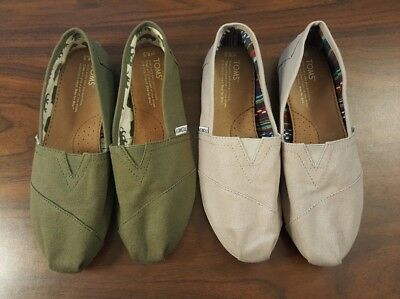 Lot of 2 Authentic TOMS Women's Canvas Slip Flats Tan/Green Shoes US Size 8.5