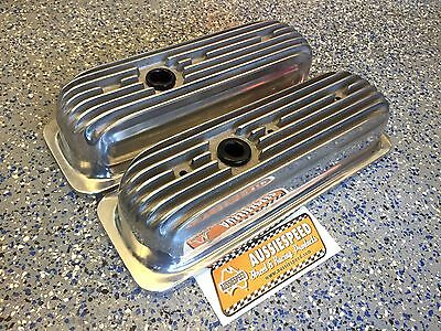 POLISHED Finned Aluminum Chevy 4.3 V6 VALVE COVERS hot rod, tall roller rockers