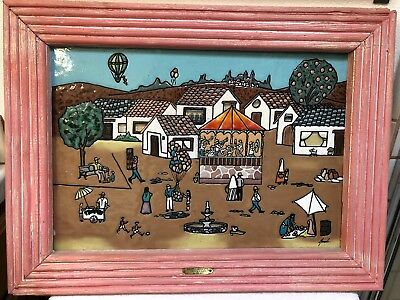 Rare Vintage Colorful Naif Mexican Folk Art, Framed & Signed Enamel on Glass