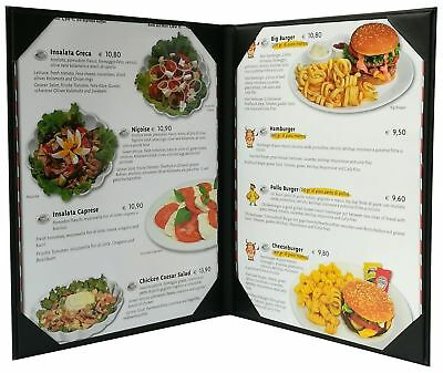 """5 Pcs of Restaurant Menu Covers Holders 8.5"""" X 11"""" Inches, Double View,So... New"""