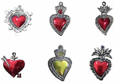 Milagros Charms - Tin Painted Sacred Heart Ornaments - Mexican Art set of 6