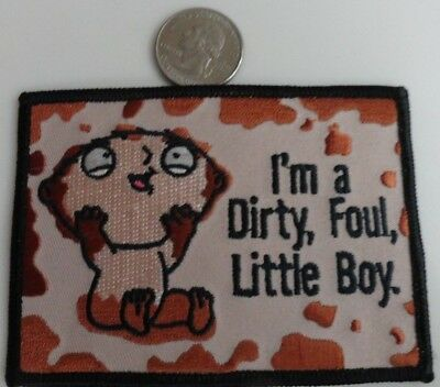 Family Guy Stewie Dirty Foul Boy TV Show Cartoon Iron On Patch New, Rare, 2004