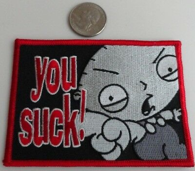 "Family Guy Stewie ""You Suck"" TV Show Cartoon Iron On Patch New, Rare, 2005"