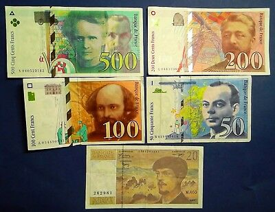 FRANCE: Set of 5 Francs Banknotes Very Fine Condition