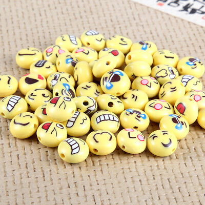 100pcs Yellow Cute Emoji Polymer Clay Loose Beads Charm Fit DIY Jewelry Making