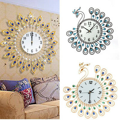CO_ Large Luxury Diamond Peacock Iron Art Wall Clock Watch Modern Home Decor Qua