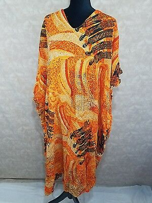 Mystique Free Size 100% Rayon African Ethnic Outfit One Piece Orange Hippie boho