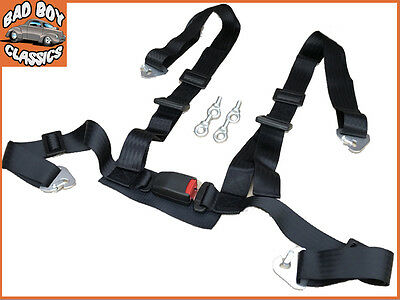 4 Point Black Car Seat Belt Harness Quick Release Clip On Fitting + Eye Bolts