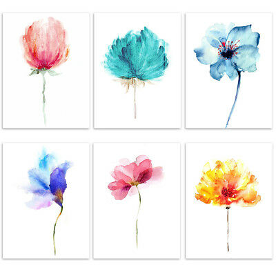 CO_ Unframed Watercolor Flower Picture Wall Painting Canvas Print Home Deco Surp