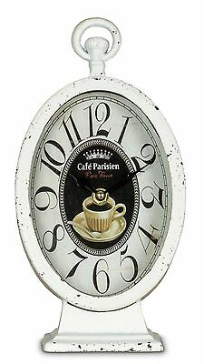 Table Clock,Clock 14x27x9cm Floor Metal White Country House Used Look Shabby