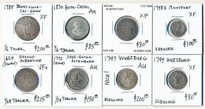 (1624-1830) Eight Silver German Coins Super Nice Lot ### Cv $1100 ### No Reserve