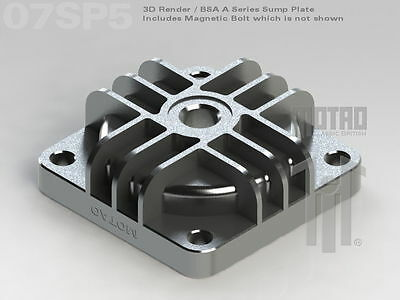 Sump Plate Bsa A7 A10 A50 A65, Finned, Billet, Gaskets, Centered Magnetic Plug.