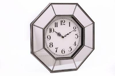 Octagon Mirror Glass Vintage Ornate Gold / Bronze Antique Distressed Wall clock