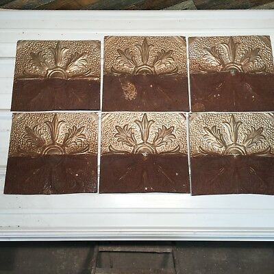 """6pc Lot of 12"""" by 12 Antique Ceiling Tin Vintage Reclaimed Salvage Art"""
