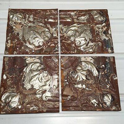 """4pc Lot of 12"""" by 12"""" Antique Ceiling Tin Vintage Reclaimed Salvage Art"""
