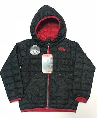 The North Face Toddler Boys 4T Thermoball Hoodie Grey & Red Reversible New!
