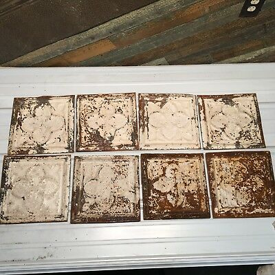 """8pc Lot of 12"""" by 12 Antique Ceiling Tin Vintage Reclaimed Salvage Art"""