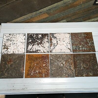 "8pc Lot of 12"" by 12"" Antique Ceiling Tin Vintage Reclaimed Salvage Art"