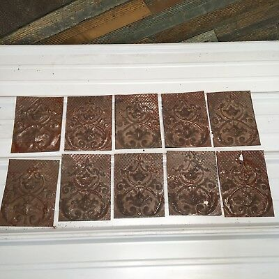 """10pc Lot of 8"""" by 6"""" Antique Ceiling Tin Vintage Reclaimed Salvage Art"""