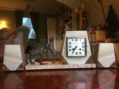 Art Deco French Marble Clock with garnitures & decorative metal fawns or kids