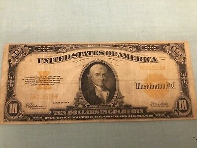 Fr. 1173 1922 $10 Ten Dollars Gold Certificate Currency Note Redeemable In Gold