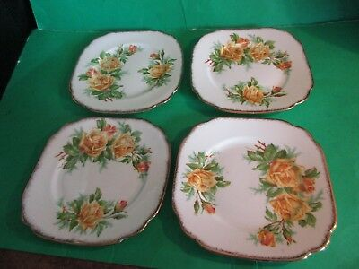 "Four Vintage Royal Albert Bone China ""YELLOW TEA ROSE"" Bread & Butter Plates"