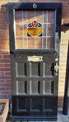 1920s Hardwood Front Door Leaded Stained Glass 9 Panel Excellent Condition
