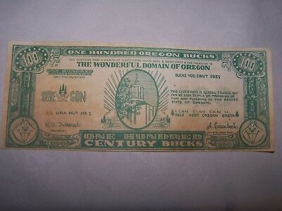 1859-1959 OREGON CENTENNIAL CELEBRATION Nice 100 Bucks Note BUCKS YOU CAN'T PASS