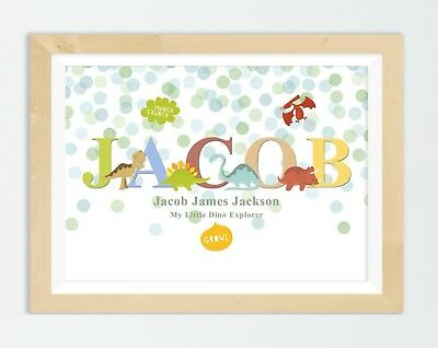 Personalised Dinosaur Name Print Baby Christening Gift Nursery Wall Art Picture