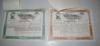 2  1st Issuance #1 1896 Hamms Stock Certificates Signed & Issued Theodore Hamm