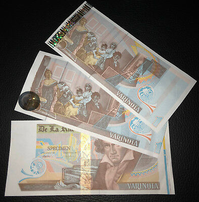 Test Note set 3 pcs - DLR / KBA Giori - Beethoven new types with HOLOGRAMS