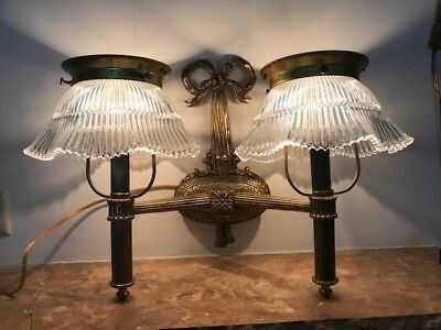 Antique Hollywood Regency Style 2 Arm Bronze Brass Ribbon Slip In Shade Sconce