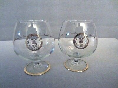 2 United States Air Force Academy Gold Brandy Snifter Glasses RARE