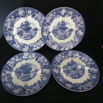 4 Unique Enoch Woods & Sons English Scenery Blue Grill Divided 3 Section Plates
