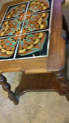 """Vintage California Mission Tiles End Table Approx 23""""x17"""" x 18"""" tall."""