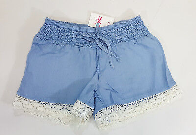 NWT Justice Kids Girls Size 8 Blue Soft Chambray Lace Hem Shorts