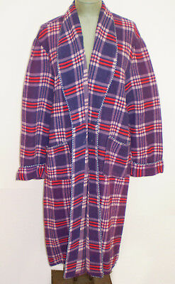 Vintage 1950s BEACON Blanket ROBE Red Blue PLAID Cotton Blend M-L