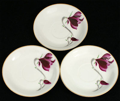Fukagawa Arita Hand Painted China Lot of 3 Saucers FUK56 Japan Purple FLower