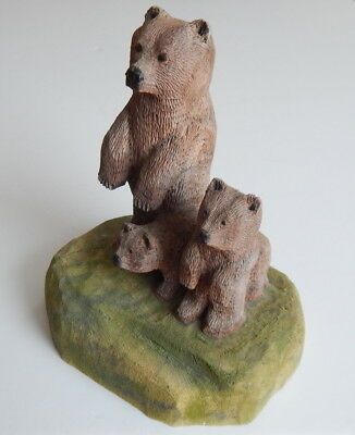 "Vintage Wooden Folk Art Hand Carved Scene-Mother Bear and Cubs 7"" High, 6"" wide"